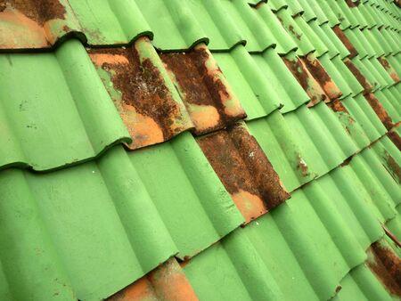 tile: old green tile roof