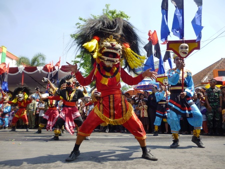 ethnicities: BLORA, INDONESIA - November 1, 2014: archipelago barongan festival held royally by presenting various types barongan of various ethnicities and tribes on November 1, 2014 in Indonesia