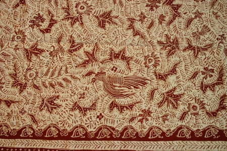batik hand stamp print with it its intricasy in the design motif batik is commonly worn in cirebon, lasem, and indramayu , indonesia, south east asian