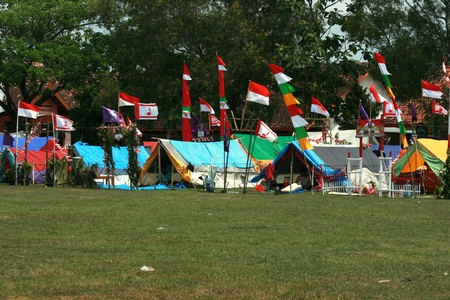 attend: Blora, Indonesia - August 14, 2016: Indonesian rover scout gathered together (Persami) to attend Regional Rover Moot at Camp Area, Blora-Indonesia