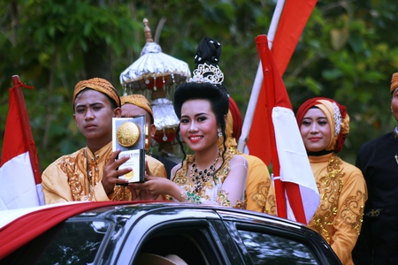 Blora, Central Java, Indonesia. 25092016: Indonesian Culture carnival to commemorate the anniversary of Independence day