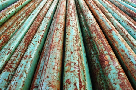 lined iron pipe Stock Photo