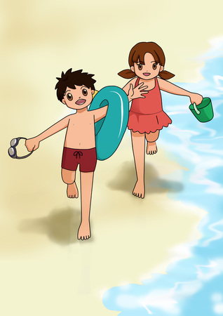 Two very happy kids wearing swimsuits