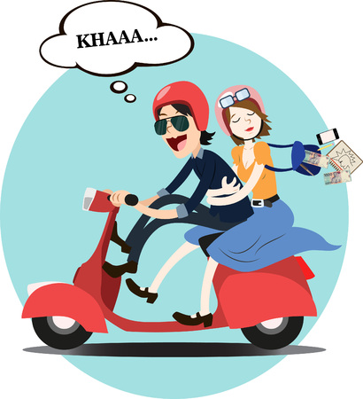 romantic couples ride red scooter (illustration)