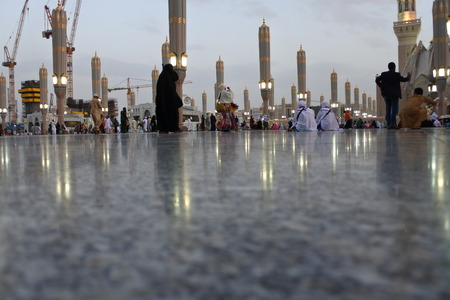 Muslims get ready to pray inside Nabawi Mosque in Medina, KSA Muslems for around the world gathered for prayer around the Prophet s mosque