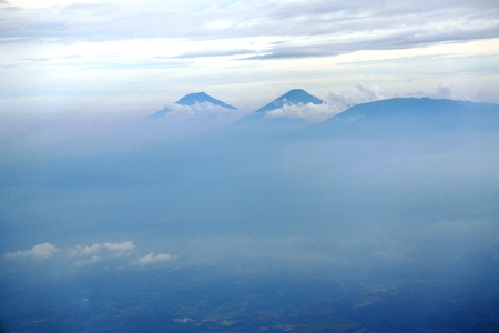 residential area: aerial photo sindoro and slamet mountain in central java near Semarang city (kendal, Batang, Pekalongan)