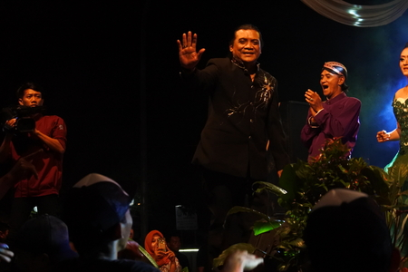 most popular: Didi Kempot most popular Indonesian Campursari singer song on a stage in Blora, Central Java, Indonesia