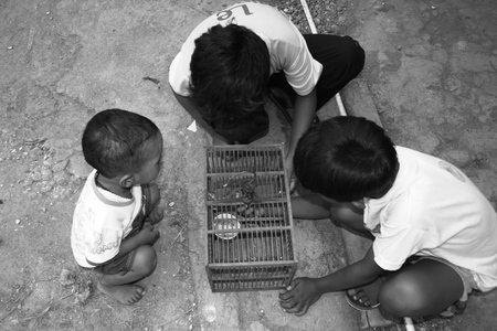 jah: Blora, INDONESIA - APR 8: children in his village (bw photo) on Apr 8, 2017 in Blora, Indonesia live below the poverty Stock Photo