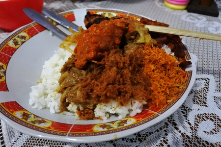 Nasi Campur Typical daily lunch from Lombok island