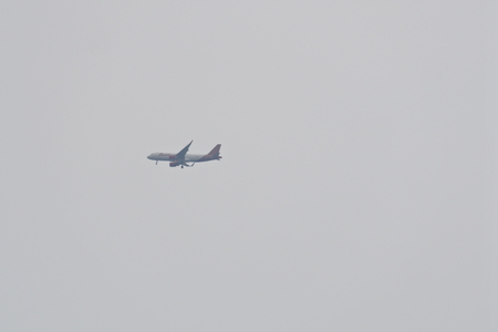 Jakarta - November 4, 2017: Batik air flying in the waters of north jakarta
