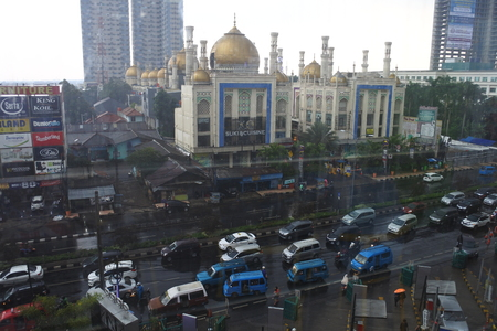 Depok, November 6, 2017: traffic jam in Depok city view from high building, indonesia