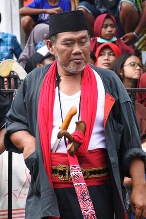 INDONESIA- DECEMBER 16, 2017: Batik carnival show held in Blora on December 16 in Central Java, Indonesia