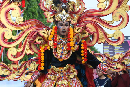 Blora, Indonesia - December 16, 2017: Spectacular Costumes worn by Participants in Blora Batik Carnival, Central Java, Indonesia
