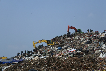 the biggest garbage dump in Indonesia, Bantar Gebang, Bekasi, Indonesia Standard-Bild