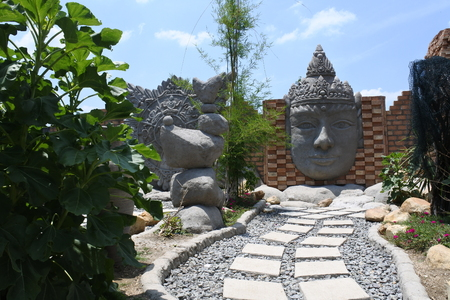 statue of Budha head, Central Java, Indonesia