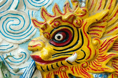 Guardian lion at the Ngoc Son temple at Vietnam Stock Photo