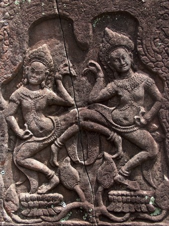 Apsaras, celestial nymphs of Khmer mythology, dance atop the leaves of the lotus.