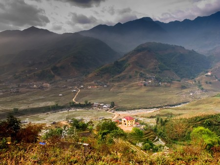 Agricultural landscape of Sapa, a mountainous region in Vietnam Stock Photo