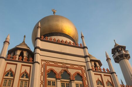 Morning bathes the dome of the Sultan Mosque in Arab Street, the oldest Mosque in Singapore