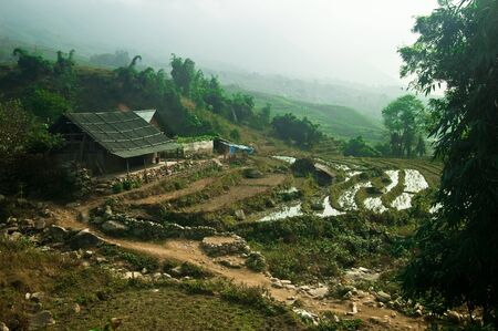 Rural house and rice terrace in Vietnams Lao Cai mountains