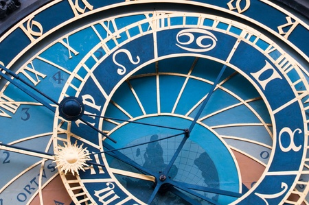 czech culture: Detail of the Astronomical Clock in Pragues Old Town Square, built in the 15th century.