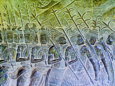 Bas-relief at Angkor Wat depicting Khmer army on the move for battle. Stock Photo