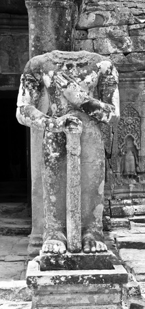 Many statue heads in Angkor have been previously stolen by looters.