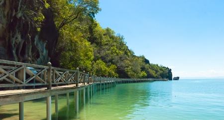 Long jetty at Gua Cerita in Langkawi island, Malaysia Stock Photo