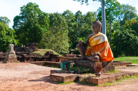 Statue of the Hindu god of death, Yama, commonly known as the Leper King statue in Angkor Thom, Cambodia. Stock Photo