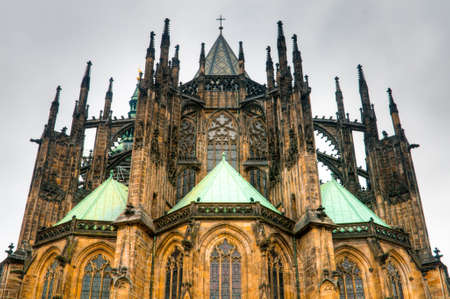 St Vitus Cathedral forms the heart of the Prague Castle. Stock Photo