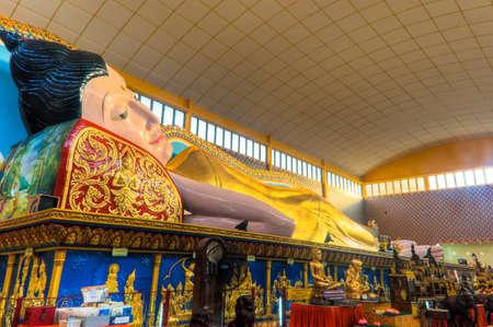 The giant Sleeping Buddha of Wat Chaiyamangalaram in Penang, Malaysia