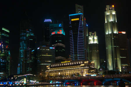 10 September 2010, Singapore: Singapores financial district by the waterfront at night.