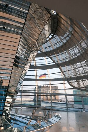 Berlin, Germany, 3 October 2010: The interior of the Reichstag dome, which sits atop the German parliament