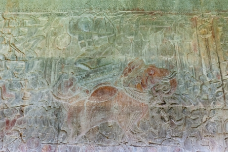 A bas-relief in Angkor Wat depicting an elephant warrior in battle. photo