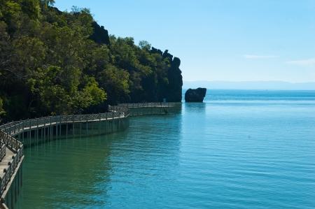 gua: Long jetty at Gua Cerita in Langkawi island, Malaysia Stock Photo