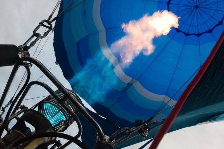 Firing up the hot air balloon photo