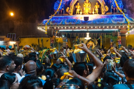20 January 2011, Kuala Lumpur, Malaysia: Over a million people gather at the Batu Caves for the annual Thaipusam festival, culminating at the temple within the massive cave complex.