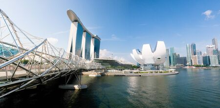 marina bay: The Marina Bay of Singapore with a view of the Marina Bay Sands ArtScience Museum and the Central Business District. Editorial