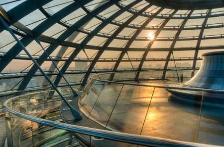 dome: The modern dome of the Reichstag sits atop the German Parliament building in Berlin. Editorial