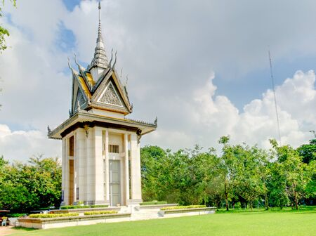 genocide: The stupa of the Cheung Ek Killing Fields holding the bones of the people who died during the Cambodian genocide of 19751979.