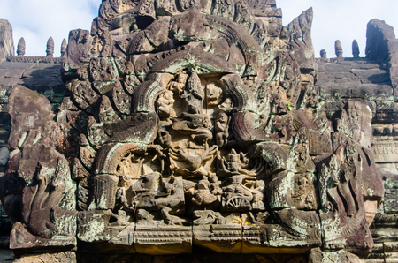 lintel: A carved lintel in the ancient Angkorian ruin of Banteay Samre.