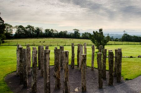 The woodhenge or circle of timber found in the ancient passage tomb complex of Knowth in Ireland Stock Photo
