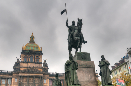 Statue of King Wenceslas, the patron saint of Bohemia, in the middle of Prague.