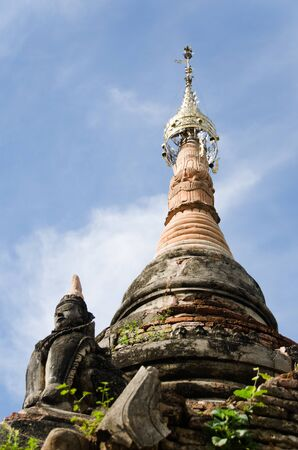 buddhist stupa: Detail of the top of a Buddhist stupa in Myanmar.