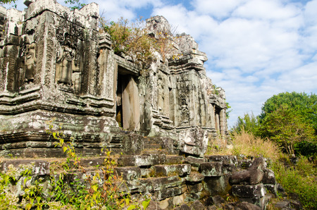 An untouched crumbling temple in Cambodias Angkor complex.