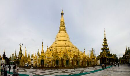 holiest: Yangon, Myanmar, 16 August 2012: Considered the holiest site in Myanmar, the Shwedagon Pagoda is thought to house the hairs of the Buddha. Editorial