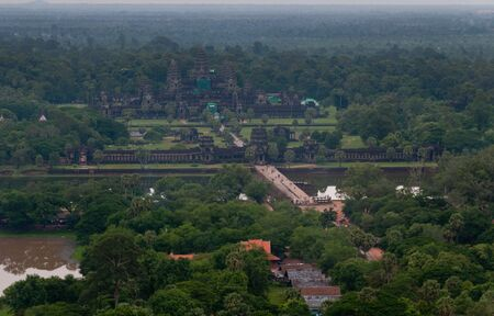 A view of Angkor Wat by hot air balloon. Angkor Wat is the largest religious monument in the world.