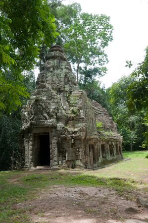 A stone chapel or fire temple at the Preah Kahn complex at Angkor, Cambodia
