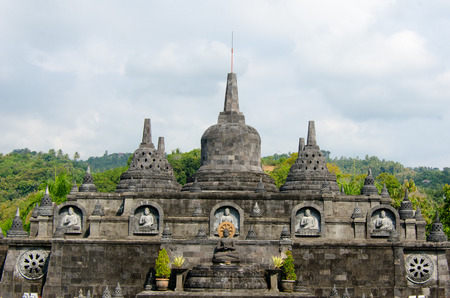Brahma Vihara Arama in northern Bali is built in the style of the famous Borobudur temple Stock Photo