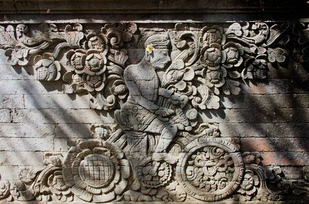 Pura Meduwe Karang is one of the main temples of Bali, and contains a unique carving of a man on a bicycle, depicting a famous Dutch artist who lived in Bali in 1904 Stock Photo